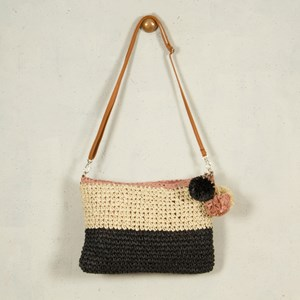 Tri Tone Paper Raffia Pom Pom Small Bag