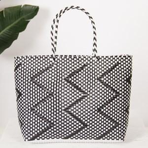 Zig Zag Weave Synthetic Tote Bag