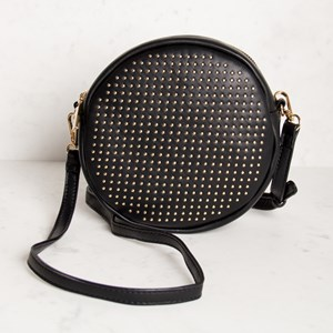 Mini Studded Round Shoulder Bag