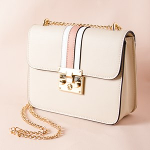 Structured Striped Fold Over Shoulder Bag