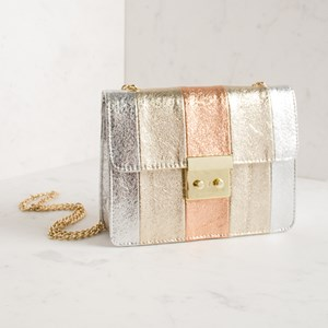 Structured Tri-Tone Fold Over Shoulder Bag