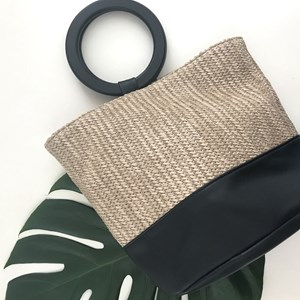 Two Tone Faux Weave Ring Handle Small Bag