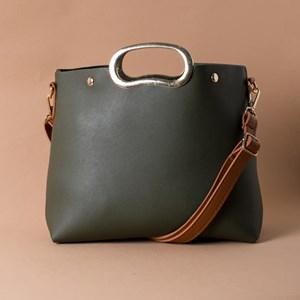 Two Tone Oval Metal Handle Small Bag