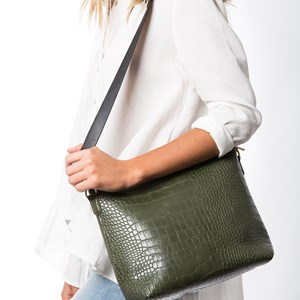 Webbing Handle Simple Croc Small Bag