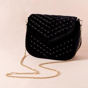 Quilted Studded Front Velvet Handbag