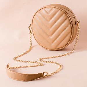 V Stitch Detail Mini Round Bag