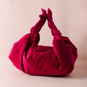 Knotted Strap Velvet Mini Bag