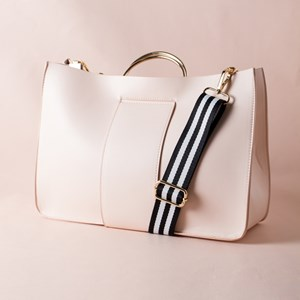 Striped Webbing Handle Metal Ring Bag