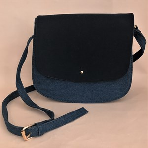 Suede Flap Over Denim Saddle Bag