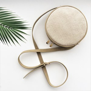 Natural Weave Front Suede Mini Round Bag