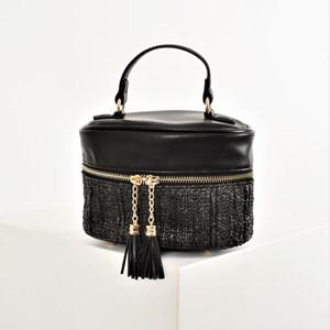 Weave & Tassel Oval Zip Around Bag