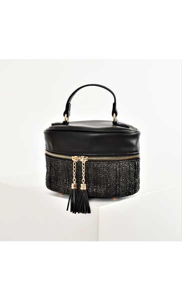 Weave & Tassel Oval Zip Around Bag