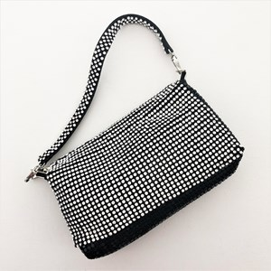 Diamante Flap Chain Mesh Small Shoulder Bag