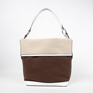 Panelled Weave Tri Tone Bucket Bag