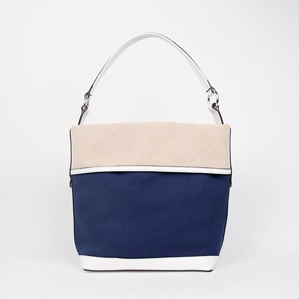 Panelled Weave Tri Tone Bucket Bag