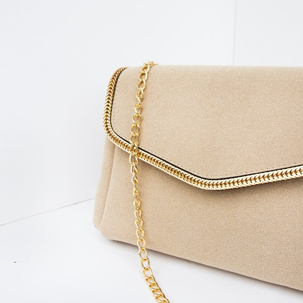 Suede Chain Edge Flap Over Envelope Bag