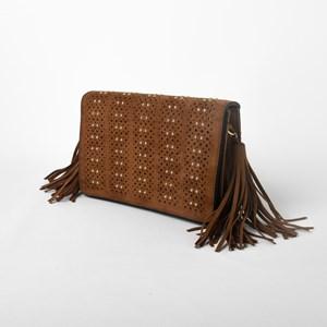 Suede Stud & Cut Outs Tassel Bag