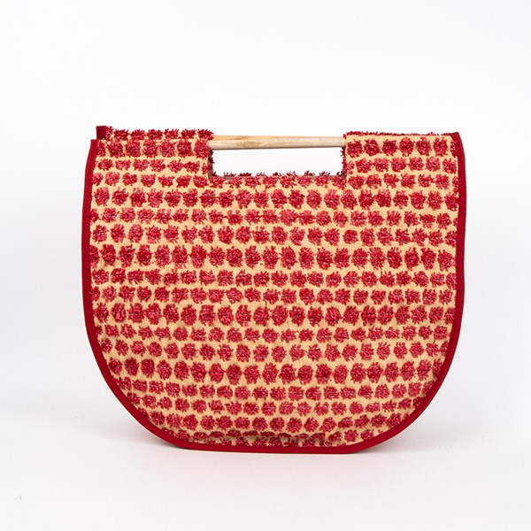 Summer Punch Raffia Spot Top Handle Tote