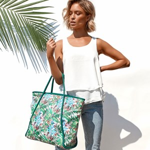Tropicale Print Contrast Handle Tote Bag