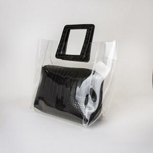 Croc Handle & Pouch Clear Bag