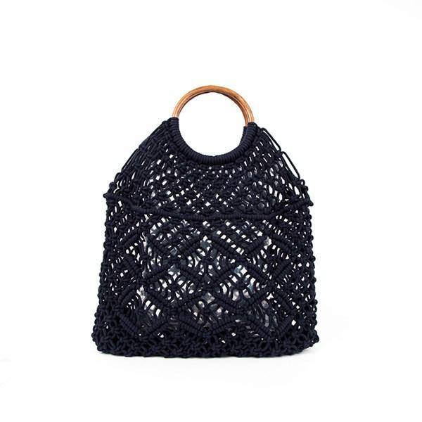 Timber Ring Handle Macrame Bag