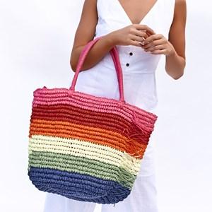 Multi Raffia Fringe Detail Tote Bag