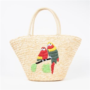 Embroidered Parrots Woven Basket Bag