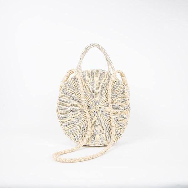 Metallic & Natural Weave Round Basket Bag