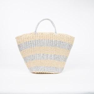 Metallic & Natural Stripe Weave Basket Tote Bag
