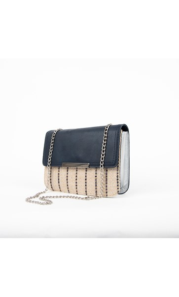 Flap Over Woven & Metallic Gusset Mini Lunch Bag