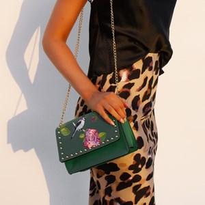 Embroidered Rose & Bird Studded Flap Over Bag