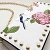 Embroidered Rose & Bird Studded Flap Over Bag - pr_60232
