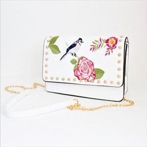 Embroidered Rose & Bird Studded Flap Over Bag