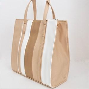 Tri Tone Stripe Panelled Tote Bag