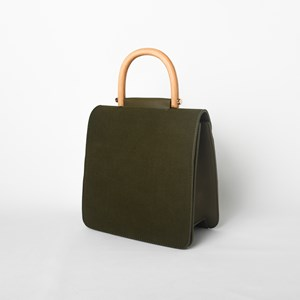 Faux Suede Foldover Timber Handle Handbag