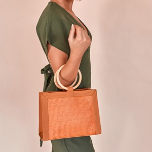 Faux Suede Edges Woven Panel Timber Ring Handle Bag