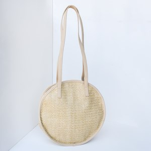 Woven Faux Suede Trimmed Round Bag