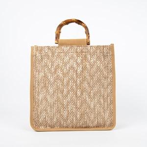Jute Weave Bamboo Handle Mini Tote Bag