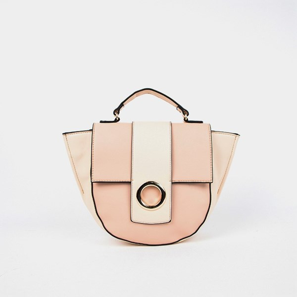 Two Tone Flap Over Trapeze Saddle Bag