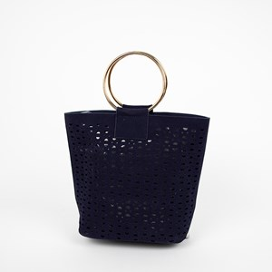 Cut Out Ring Handle Vegan Suede Bucket Bag