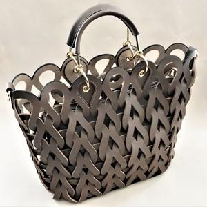 Looped Teardrops Vegan Leather Tote Bag