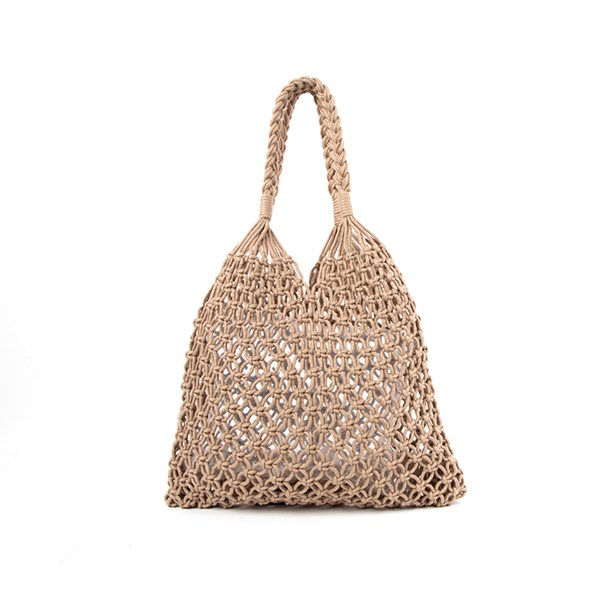 Knotted Macrame Plait Handle Tote Bag