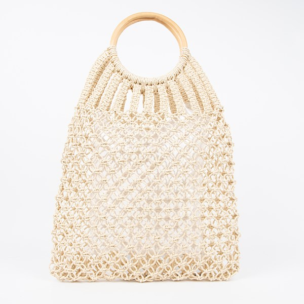 Knotted Open Weave Timber Ring Market Bag