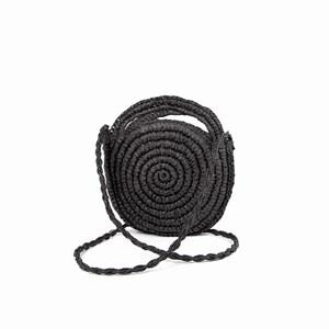 Raffia Weave Round Basket Cross Body Bag