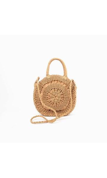 Cut Out Round Basket Bag