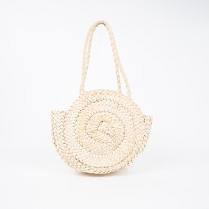 Plaited Swirl Round Small Basket Bag