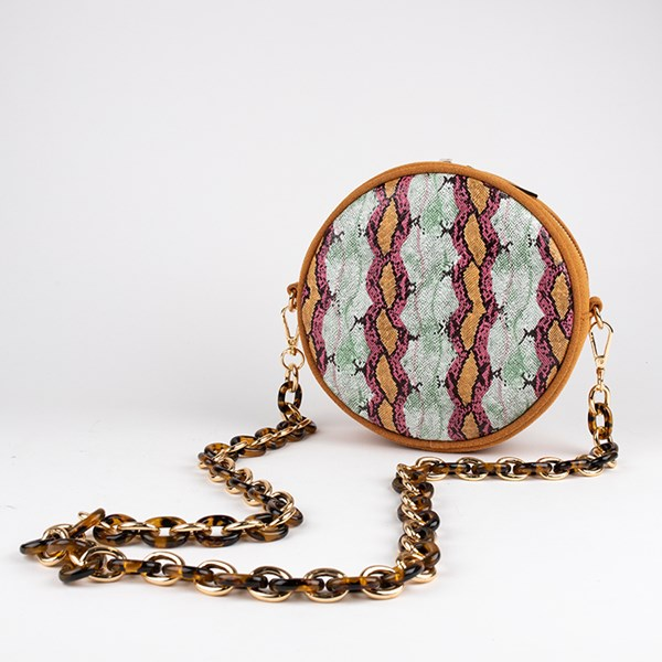 Palm Springs Reptile Resin Chain Round Bag