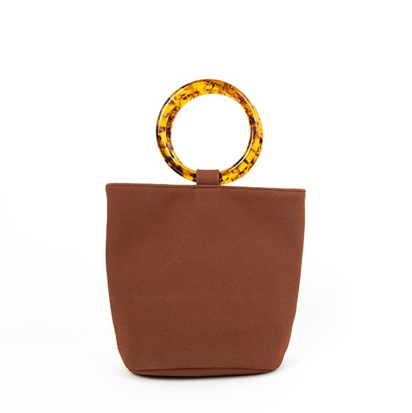 Resin Ring Vegan Suede Mini Bucket Bag