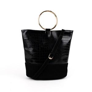 Croc Vegan Suede Metal Ring Bucket Bag