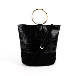 fe452a8cdbf5 Croc Vegan Suede Metal Ring Bucket Bag